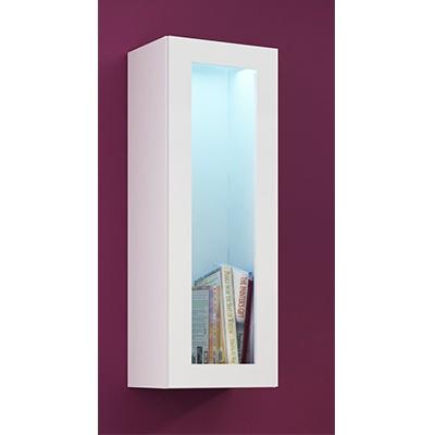 Balta mat 9korpus)/balta blizgi (priekis) vitrina 90 stiklas