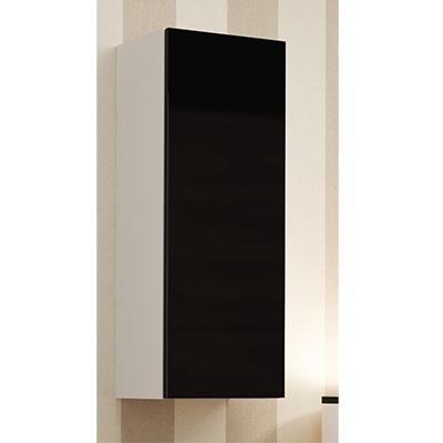 Balta mat (korpusas) / juoda blizgi (priekis) vitrina 90
