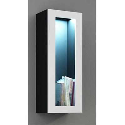 Juoda mat (korpus)/balta blizgi (priekis) vitrina 90 stiklas